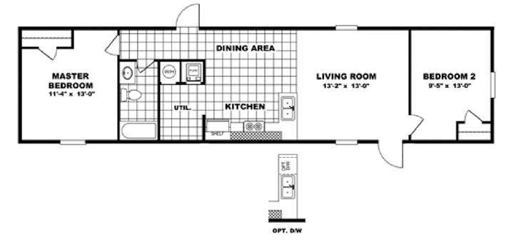 2 bedroom 1 bath 14x60 tru homes clayton built marshall for 1 bed 1 bath mobile homes